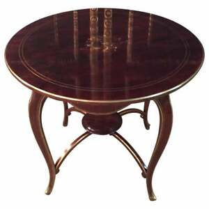 Biedermeier Table Mahogany Inlaid With Mother of Pearl 1870