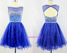 New Sequined Short Prom Dress A Line Scoop Backless Homecoming Dress Green Blue