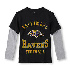 Long Sleeve NFL Baltimore Ravens Football Logo Faux-Layered Graphic Tee XS(4)