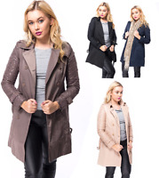 Ladies Womens Double Breasted Buckle Belted  Trench Mac Coat Jacket Laced Sleeve