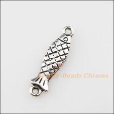 15Pcs Tibetan Silver Tone Tiny Fish Charms Pendants Connectors 6x22mm