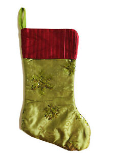 19 In Green Red Swirl Christmas Stocking