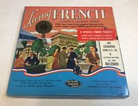 Vintage Living French Language Course On 4 33 1/3 RPM Records 40 Lessons