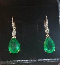 3Ct Pear Cut Green Emerald Diamond Drop/Dangle Earrings 14K Yellow Gold Finish