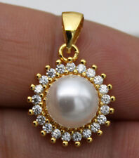 18K Yellow Gold Filled - Sunflower Pearl Topaz Lady Cocktail Pendant Jewelry