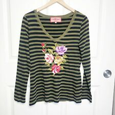 JOHNNY WAS Striped Embroidered Floral Cotton Long Sleeve Shirt top Size small