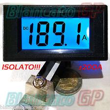 AMPEROMETRO ISOLATO ±200A DC DIGITALE DA PANNELLO LCD LED BLU SHUNT 75mV nautica