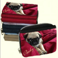 Personalised Ladies Pug Purse Add a Message, Name - Lovely Xmas Gift for HER