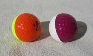 2 vintage ping bicolor golf balls eye 2 karsten yellow/orange & purple/white