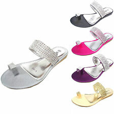 WOMEN'S LADIES SIMULATED DIAMANTE FLAT THONG SANDALS SUMMER TOE POST SIZE 500-3