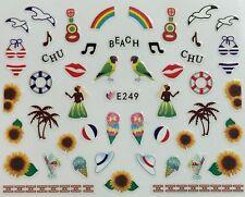 Nail Art 3D Decal Stickers Tropical Chu Beach Rainbow Hula Dancer Palm Tree E249