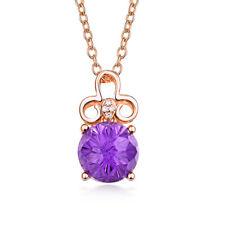 Solid 14K Rose Gold Diamond Purple Amethyst Engagement Wedding Pendant