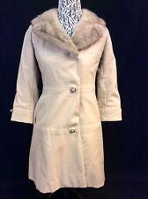 TARLOW's YOUTHCRAFT Custom-Ette Beige Mink Fur Trimmed Collar Womens Coat XS USA