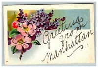 Vintage 1900's Postcard Greetings From Manhattan Flowers Glitter