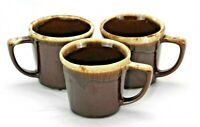 McCoy Mugs Set of 3 Coffee Cup Mugs EUC Brown Drip Glaze Pottery
