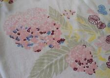 Vintage Printed Cotton Tablecloth Pink Hydrangea Flowers Green Bows