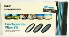 Kit 3 filtros Vivitar 62mm UV CPL ND8 para Sony Canon Nikon Tamron Pentax Sigma
