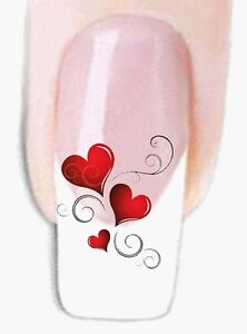Herzen -2 Wraps Nail Art Tattoo Sticker Decal Fingernägel Fuß-Nägel Aufkleber