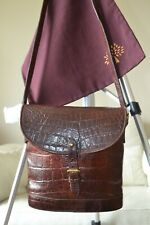 MULBERRY BAG vintage BINOCULAR NILE BROWN LEATHER mock croc crossbody shoulder