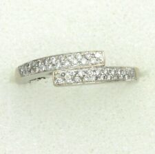 18ct White Gold Half Eternity Pave Crossover Diamond Ring 0.27ct Size M½