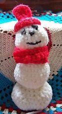 "Vintage Crochet Handmade Centerpiece 7"" Frosty Snowman Red Hat & Scarf Christmas"