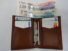 Quality Soft Cow Leather Slim Tall Wallet ideal for Back Pocket Tan Colour