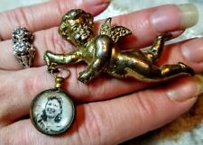 Antique Cherub Brooch/Pin w/Beveled Glass Bubble Double Picture Fob
