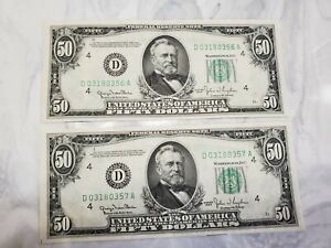 1950 $50.00 2 Consecutive Sequential Federal Reserve Notes Low # Crisp UNC