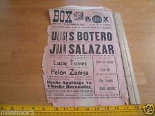 1966 Mexico Boxing poster Juan Salazar vs Ulises Botero Lupe Torres Pelon Zuniga