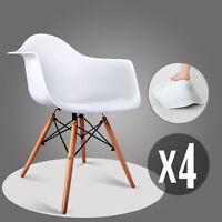 Weiß Esszimmerstuhl Stüle mit Retro Kunstleder Polstert Esszimmer Bürostüle x 4