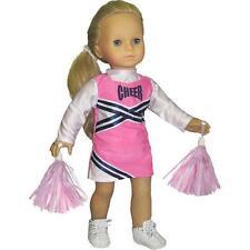 "Pink & Navy Cheerleader w/ Pom-Poms Fit 18"" Girl Doll American Cheer costume"