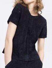 ZARA Navy Blue Genuine Suede Leather Cutwork Cutout Tee Shirt Top Sz M Medium