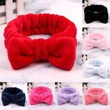 Solid Color Coral Fleece Bow Hair Bands Wash Face Makeup Soft Elastic Headband