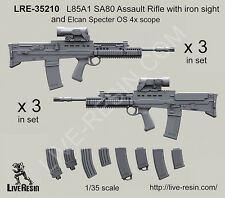Live Resin 1/35 L85A1 SA80 Rifle w/Iron Sight&Elcan Specter OS 4x Scope (6 sets)
