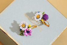 Boucles d`Oreilles Dormeuse Plaqué Or Fleur Pivoine Email Blanc Violet Rose L6