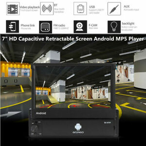 """7"""" 1 DIN Capacitive Retractable Screen Android GPS MP5 Player fit for Ford Honda"""