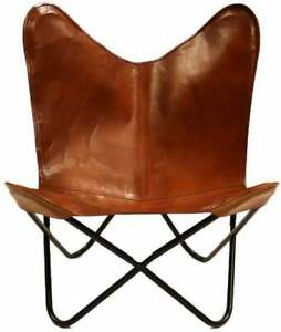 Real leather butterfly chair Relax chair sleeper seat only cover & folding frame