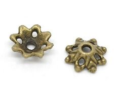 """20 Bronze FLOWER BEAD CAPS 5/16"""" x 1/8"""" (8 x 3mm) Findings (14479)"""