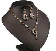 Luxury Wedding Gold Black Rhinestone Beads Earrings Necklace Jewelry Set HLN01
