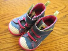 Keen size 5 blue with pink & green high top adjustable strap shoes Ex.