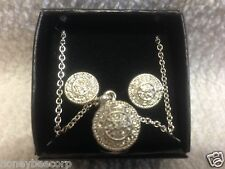 Avon Pave Circle Necklace and earring gift set silver-tone NEW