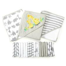 Baby Bath Gift Set 23 Piece Hooded Towels Washcloths Grey Gray Boy Girl Unisex