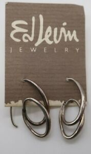 Ed Levin 925 Sterling Silver Signed Modernist Earrings on original card