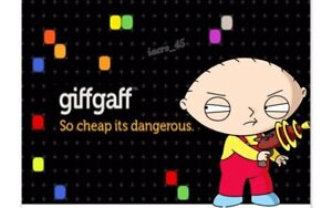 Giffgaff Mobile Phone Sim Card Unlimited Call text Tracker Pay as You Go O2 UK x