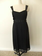 ROCKMANS SIZE 8 STUNNING EVENING DRESS LADIES BLACK BLING SHEER PLEATS POLYESTER