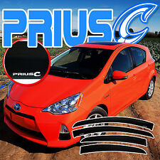 2012-2017 PRIUS C HYBRID SIDE DOOR WINDOW DEFLECTORS with LOGO - SUN RAIN VISORS