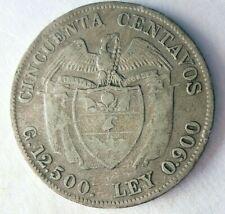 1916 COLOMBIA 50 CENTAVOS - BIG VALUE RARE Vintage Silver COIN - Lot #Y30