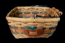 Woven Basket Collectible Decorative Tan Woven Red Apple Single Handle