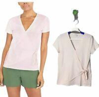 J. Crew Tie Wrap T Shirt Womens Size Small Subtle Pink V neck Short Sleeve NWOT