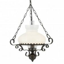 SEARCHLIGHT 576RU Oil Lantern Rustic Wrought Iron with Opal Glass Diffuser